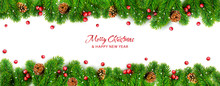Vector Decorative Element For Design And Decoration Of Cards For Christmas And New Year. Branches Of Spruce With Pine Cones And Red Berries Isolated On White Background.