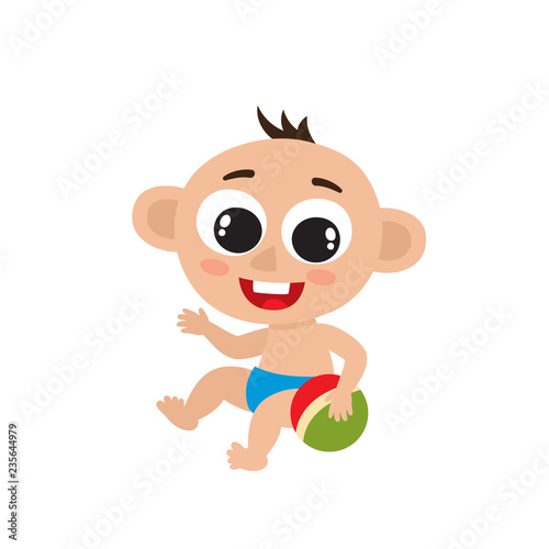 Fotobehang Beren Cute little baby boy with ball isolated on white.