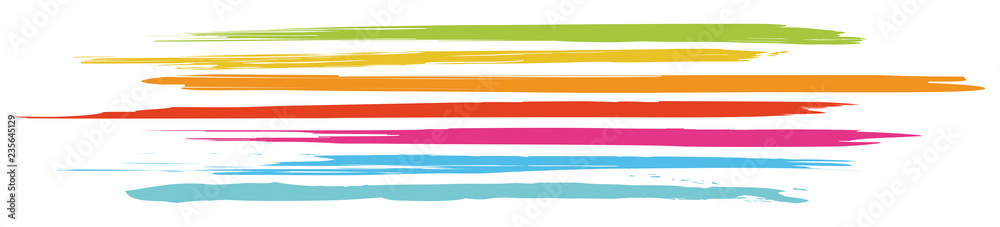 Fototapeta Header with horizontal, colored brushstrokes in fresh colors / vector