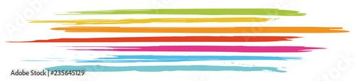 Header with horizontal, colored brushstrokes in fresh colors / vector