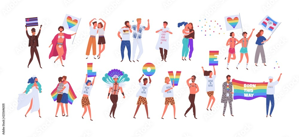 Fototapeta Crowd of people taking part in pride parade. Men and women at street demonstration for LGBT rights. Group of gay, lesbian, bisexual, transgender activists. Colorful vector illustration in flat style.