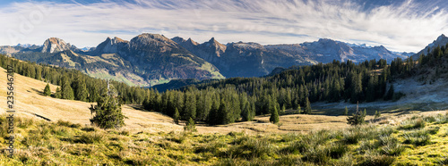 Fototapeta panorama mountain landscape in the Swiss Alps