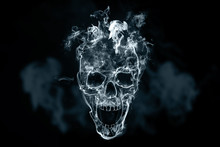 Skull From Cigarette Smoke On A Black Background. Creative Background. The Concept Of Smoking Kills, Nicatine Poisons, Cancer From Smoking, Stop Smoking. Copy Space.