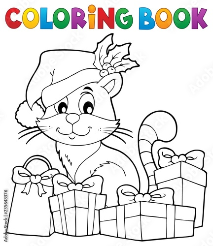Coloring book Christmas cat theme 3
