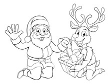 Santa And His Reindeer Opening Christmas Gift Coloring Scene