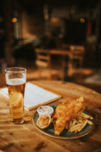 Fish And Chips Plate And Pint ...