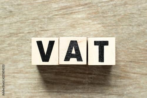 Fotografia, Obraz  Letter block in word VAT (value added tax) on wood background