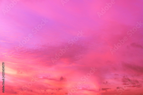 Fotobehang Roze Sky in the pink and blue colors. effect of light pastel colored of sunset clouds cloud on the sunset sky background with a pastel color