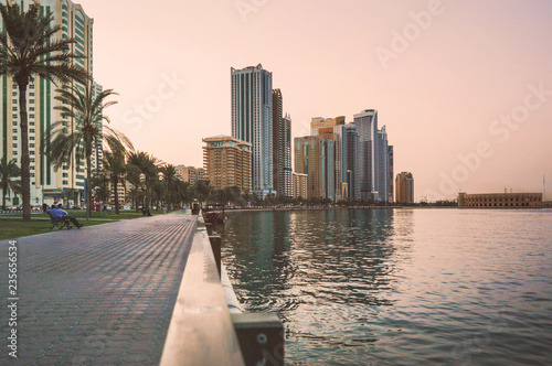 Evening In Sharjah. UAE. City quay.