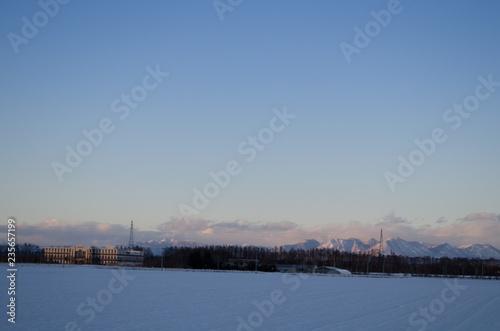 Fotografie, Obraz  雪原の夕暮