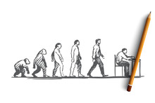 Evolution, Businessman, Programmer, Primitive Concept. Hand Drawn Isolated Vector.
