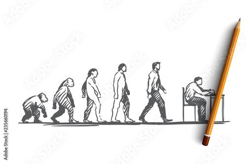 Evolution, businessman, programmer, primitive concept Fototapeta