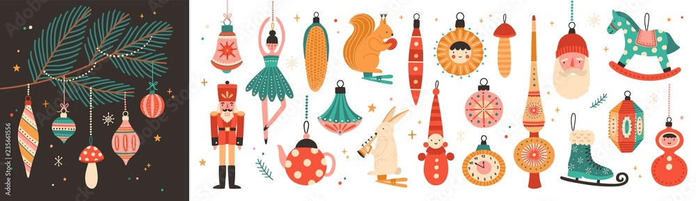 Fototapeta Collection of beautiful baubles and decorations for Christmas tree. Set of holiday ornaments. Figures of animals, Santa Claus, nutcracker, ballerina. Colored vector illustration in flat cartoon style.
