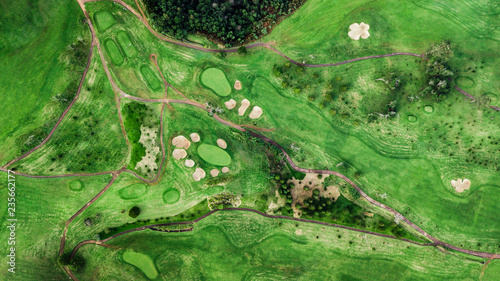 Photo Stands Green Drone top view of green grass golf field