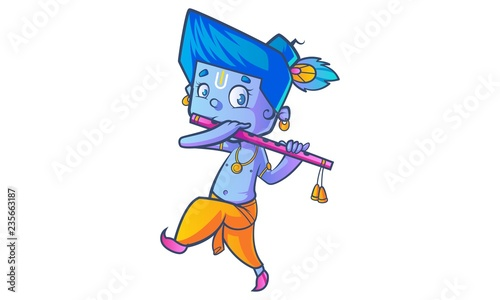Fotografie, Tablou Vector cartoon illustration of lord Krishna with flute