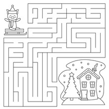 Coloring Page For Preschool Kids. Maze Game. Help The Pig Find Right Way To The House. Christmas Game. Vector Illustration.