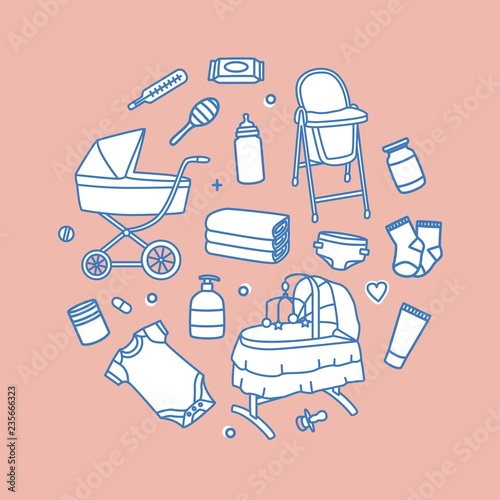 Photo Bundle of infant baby care and feeding products drawn with contour lines on pink background