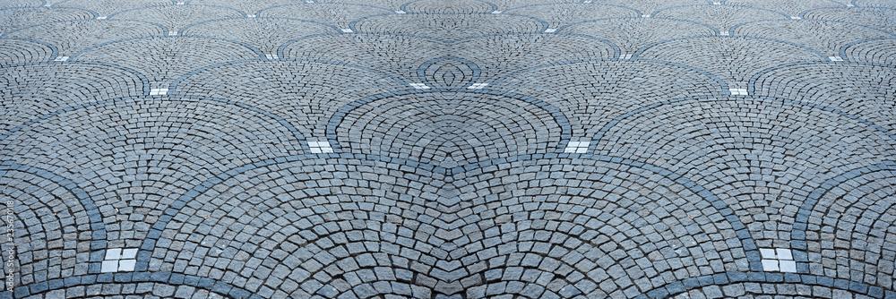 Fototapety, obrazy: Granit Kopfsteinpflaster mit Bogenmuster