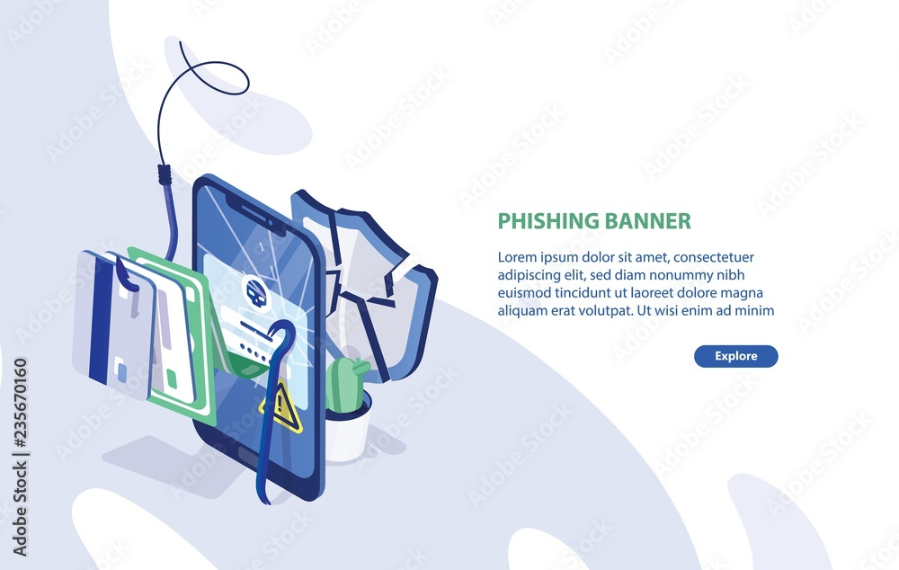 Fototapeta Modern web banner template with cracked smartphone, credit cards on fishing hook, broken protective shield and place for text. Phishing, internet fraud, online security. Isometric vector illustration.