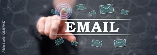 Man touching an e-mail concept