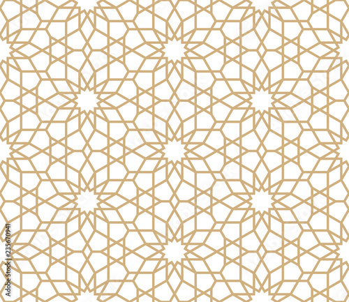 Photo  Seamless gold oriental pattern