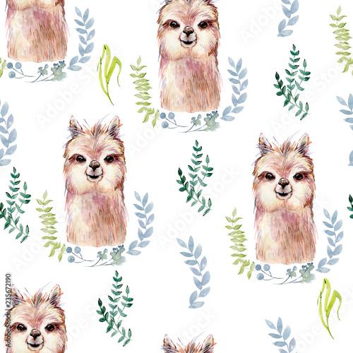 Photo sur Toile Croquis dessinés à la main des animaux lama watercolor illustration
