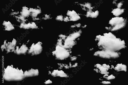 Aluminium Prints Heaven Set of cloud white fluffy on isolated elements black background