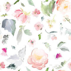 Fototapeta Vintage Vector seamless pattern with flower and plants in watercolor style.