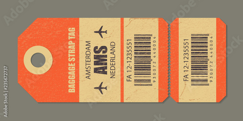 Vintage luggage tag, vintage retro travel Amsterdam nederland country label Wallpaper Mural