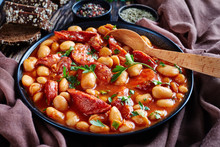 Beans Stew With Sausages In A Bowl