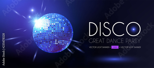 Disco Party Flyer Templatr with Mirror Ball and Light Effects. - 235678328