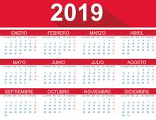 Calendario 2019 En Español - Flat Design