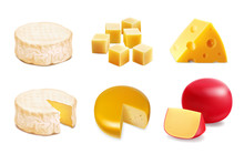 Cheese Types. Realistic Vector Illustration Icons Of Various Kind Of Cheese