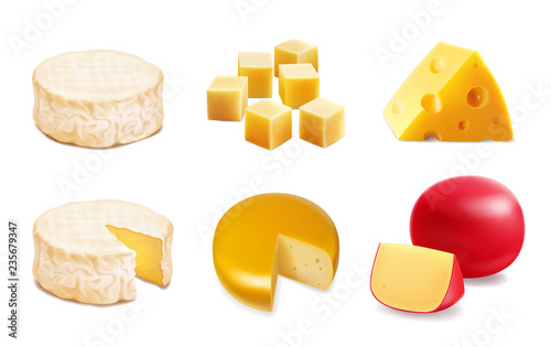 Fototapeta Cheese types. Realistic vector illustration icons of various kind of cheese obraz