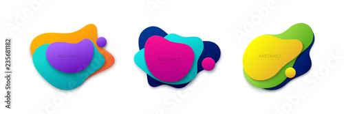 Obraz Liquid gradient colors shapes set. - fototapety do salonu
