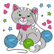 cute cat on white background - vector illustration, eps