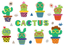 Set Of Isolated Funny Cactus In Glasses - Vector Illustration, Eps