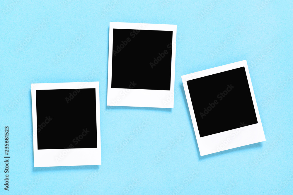 Fototapety, obrazy: Retro style photo frames blue background