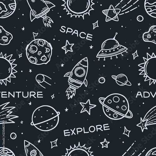Tapety do pokoju chłopca  space-elements-hand-drawn-seamless-pattern-vector-illustration