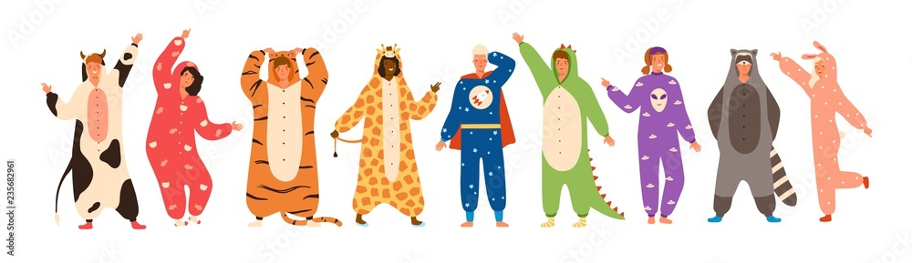 Fototapety, obrazy: Bundle of men and women dressed in onesies representing various animals and characters. Set of people wearing jumpsuits or kigurumi isolated on white background. Flat cartoon vector illustration.
