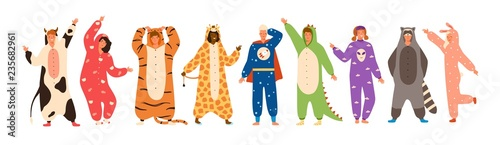 Bundle of men and women dressed in onesies representing various animals and characters Fotobehang