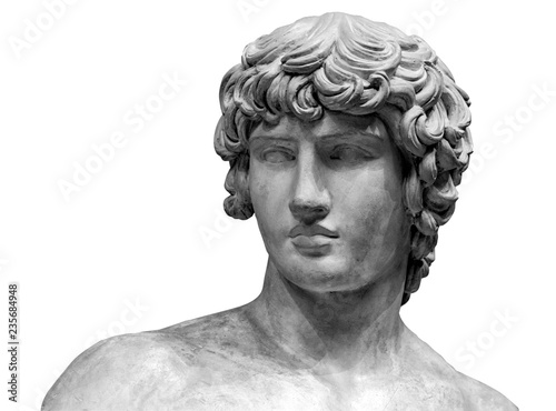 Foto op Plexiglas Historisch geb. Head and shoulders detail of the ancient sculpture. Isolated on white background