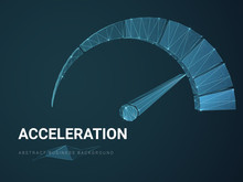 Abstract Modern Business Background Vector Depicting Acceleration With Stars And Lines In Shape Of A Speedometer On Blue Background.