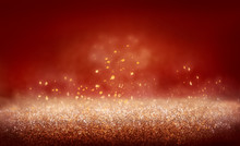 Illustration Of An Abstract Gold Glitter, Sparkly, Shiny Red Christmas Background