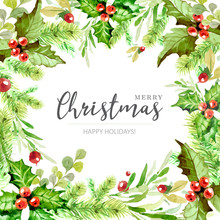 Colorful  Vector Christmas Frame In Watercolor Style