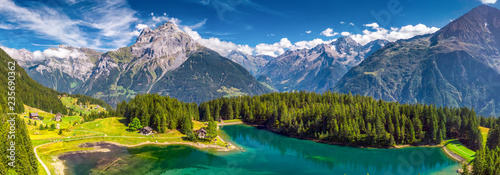 Poster Alpes Arnisee with Swiss Alps. Arnisee is a reservoir in the Canton of Uri, Switzerland, Europe