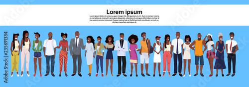 Obraz african american people group standing together set men women business casual employees workers male female cartoon character horizontal banner copy space full length flat - fototapety do salonu