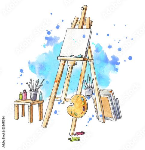 Fotografia Watercolor easel at the studio, artist's workplace