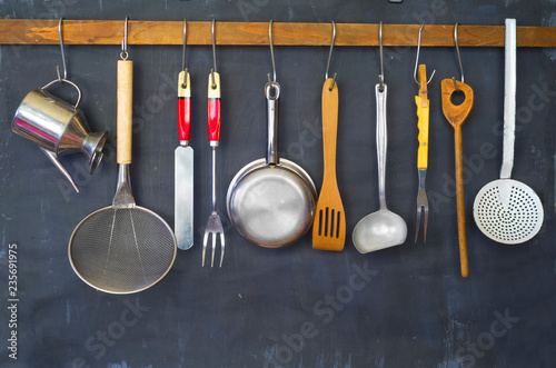Valokuva  Kitchen utensils, for commercial kitchen, restaurant ,cooking, kitchen concept