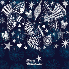 Doves And Stars.  Christmas Mo...
